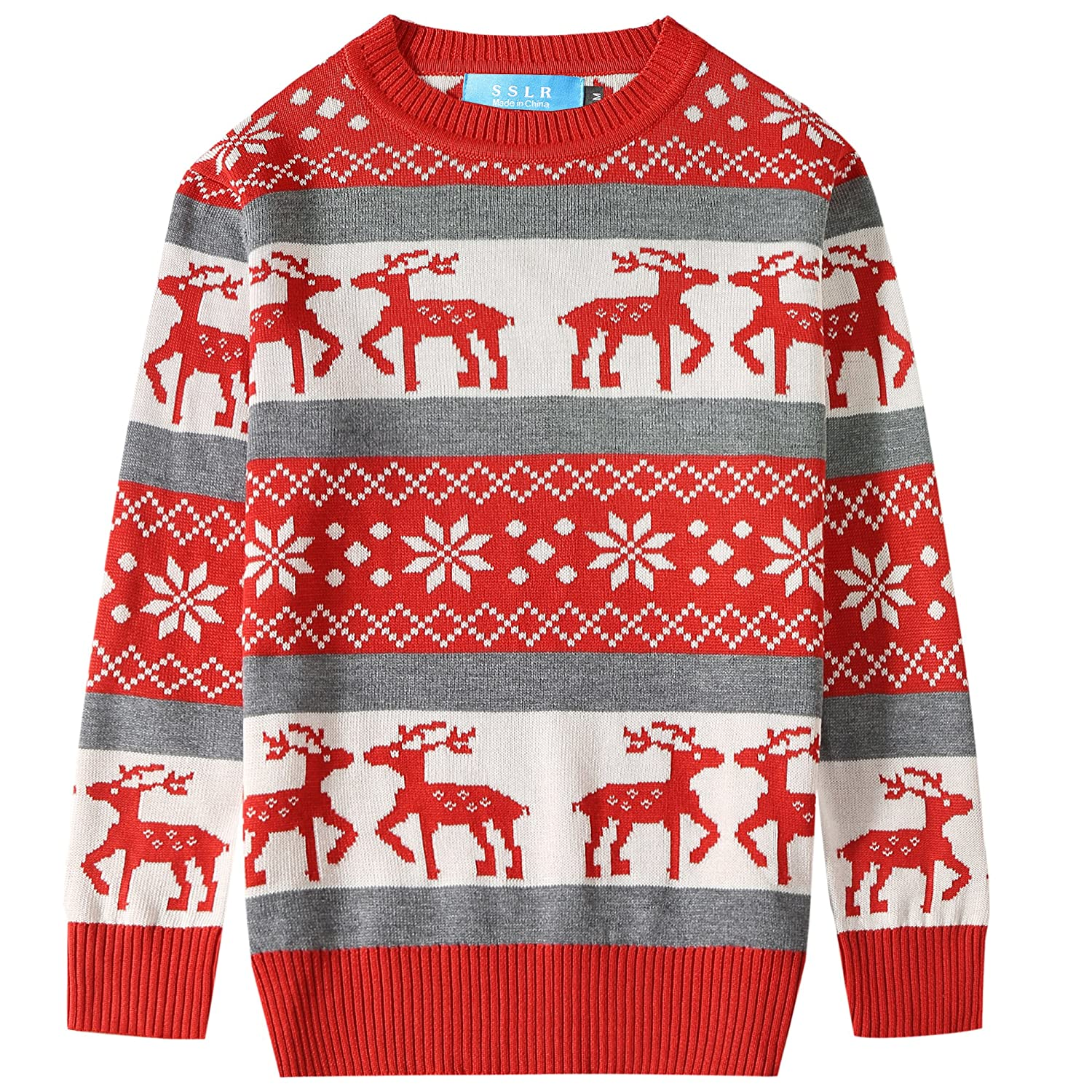 SSLR Big Boys' Reindeer Pullover Crewneck Ugly Christmas Sweater SN-T18-B-40013