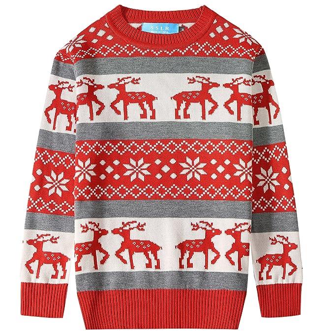SSLR Big Boys\u0027 Reindeer Snowflake Pullover Crewneck Ugly Christmas Sweater