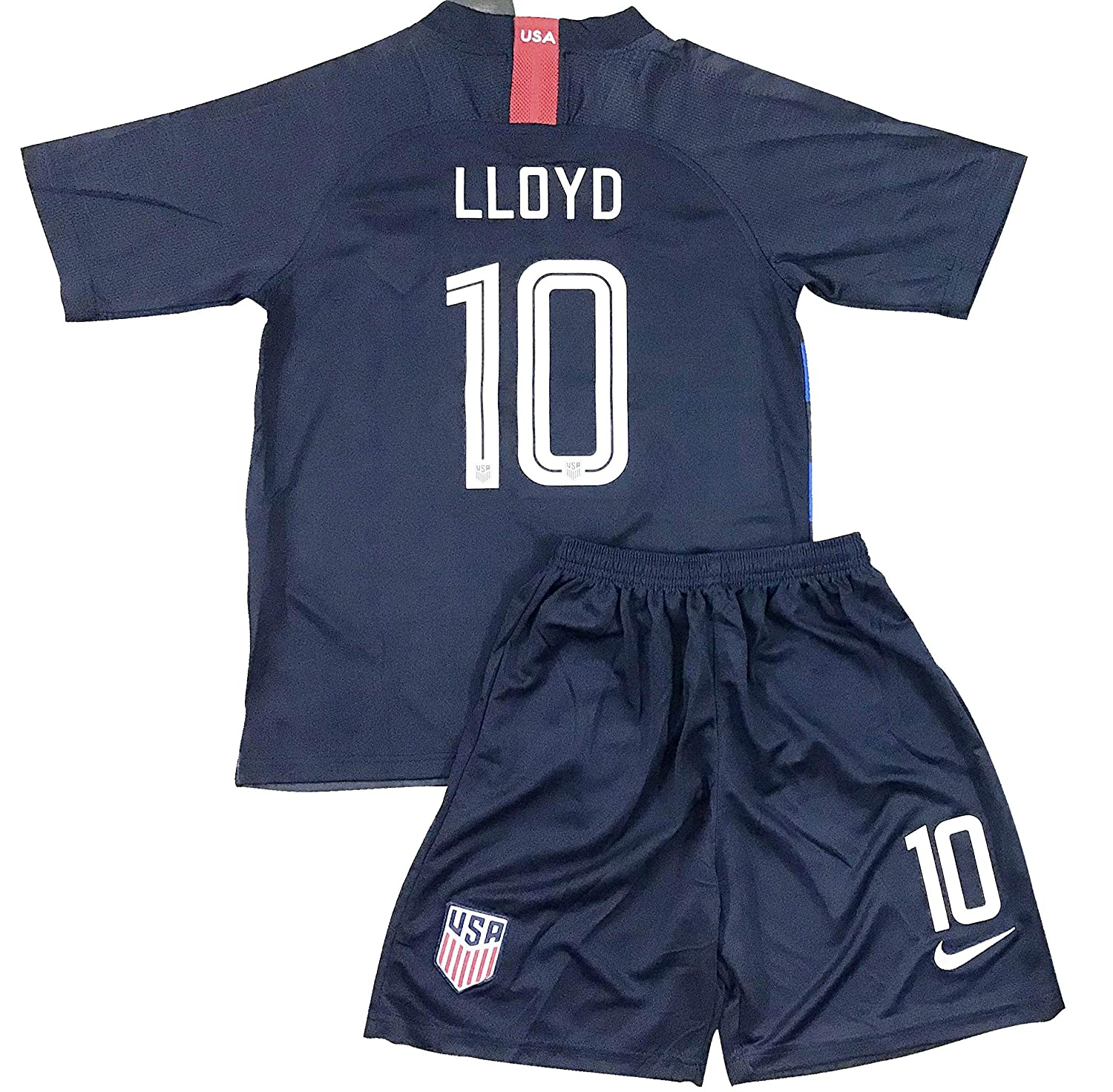 new style 142f0 7743b New 2018-2019 Carli Lloyd #10 USA National Team Away Soccer Jersey & Shorts  for Kids/Youths