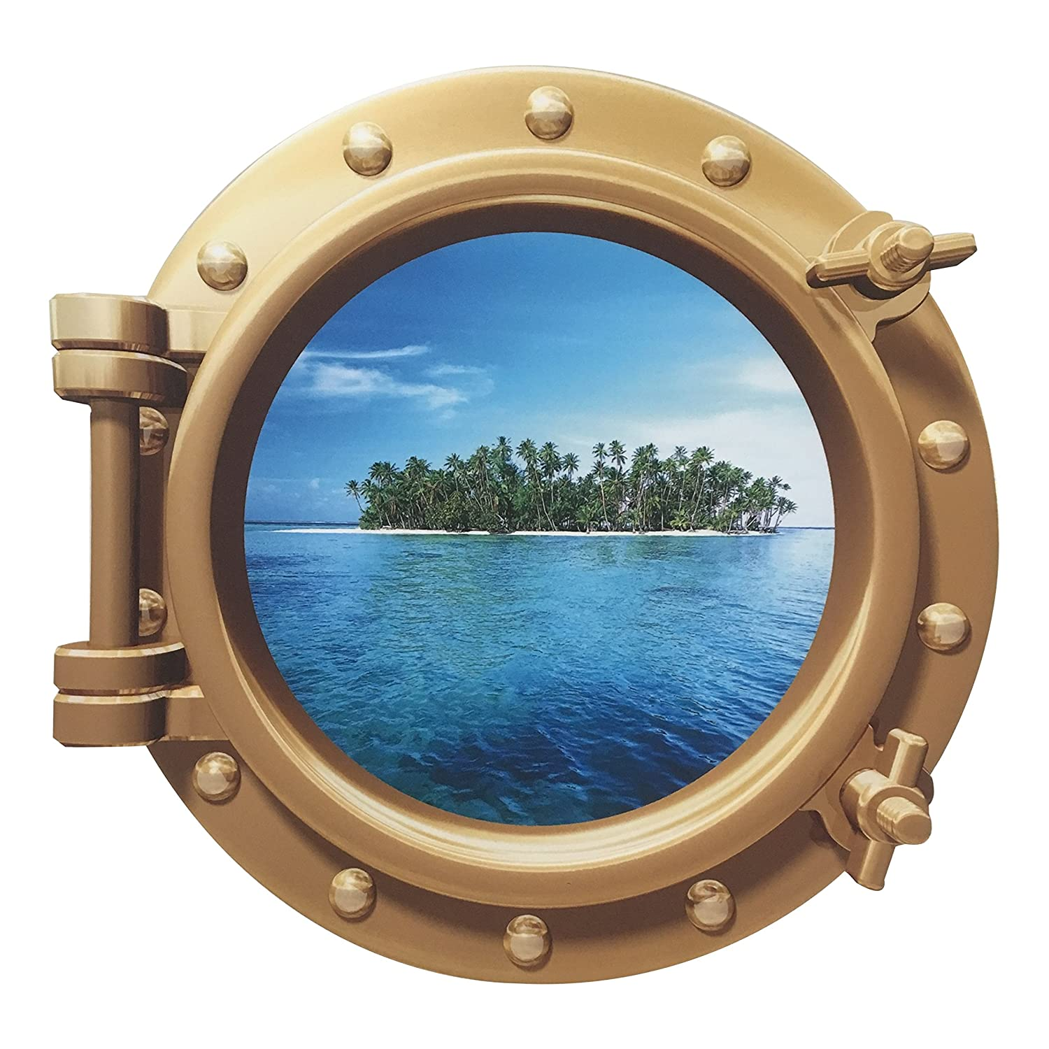 Cruise Ship Porthole Sticker - Easy Peel On Off Decal for Walls, Doors & Other Flat Surfaces