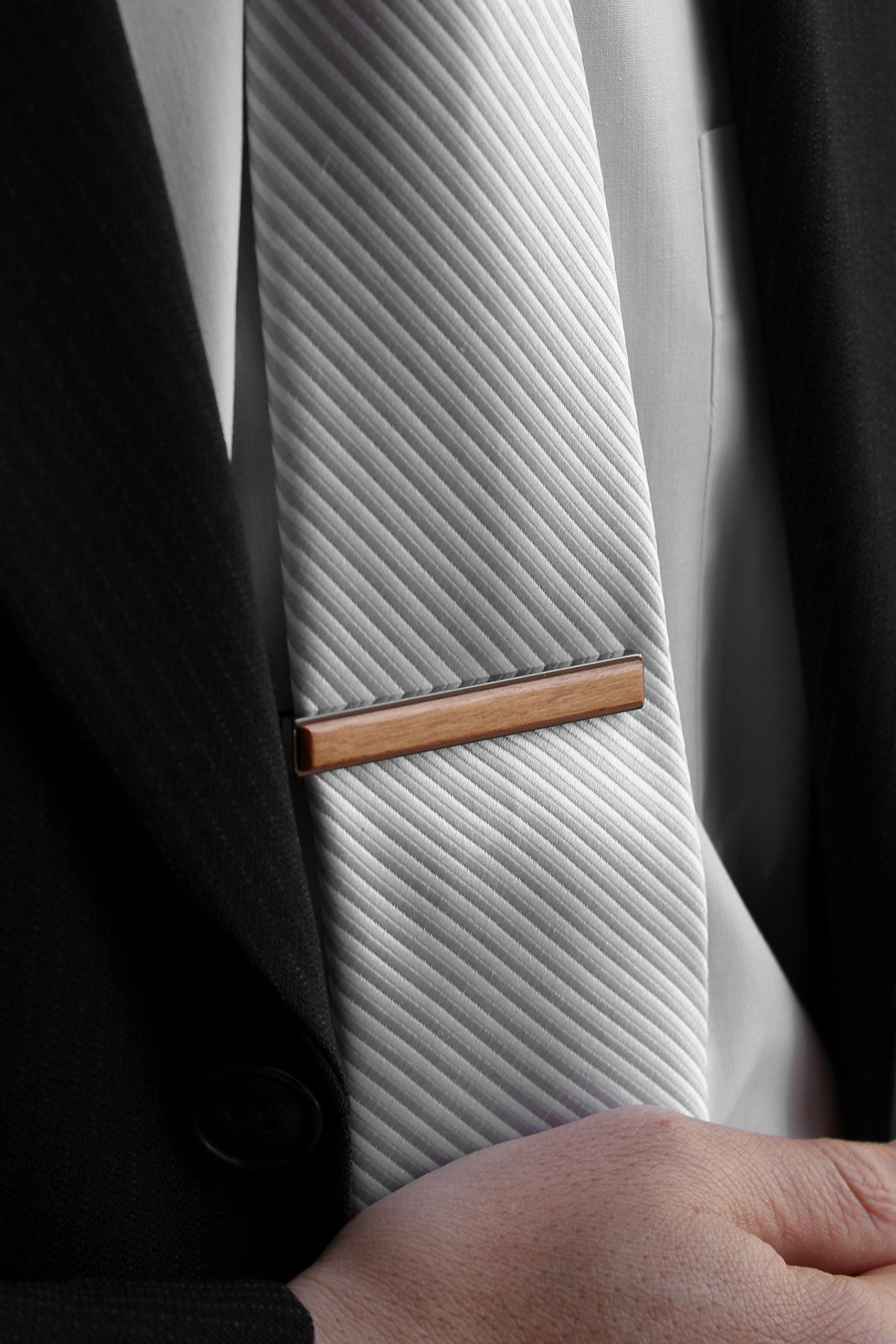 +LUMBER by Hacoa PL077 Wooden Tie Clip, TIE PINS, tie bar for a smart impression. (Cherry) by +LUMBER by Hacoa (Image #2)