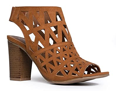 2731143a81 Amazon.com | J. Adams Laser Cut Wood High Heel - Cutout Peep Toe ...