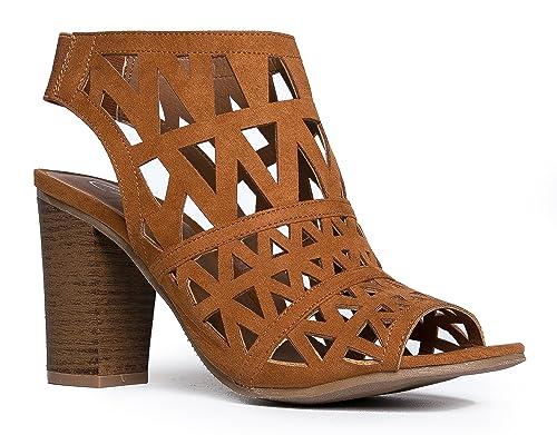 a5cbfcf9528 J. Adams Laser Cut Wood High Heel - Cutout Peep Toe Shoe - Elastic Back  Slip On Bootie - Riviera