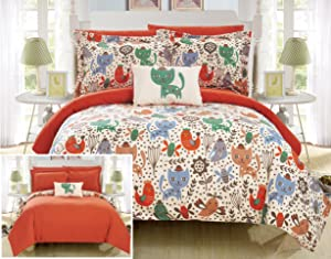 Chic Home Flopsy 8 Piece Reversible Comforter Cute Animal Friends Youth Design Bed in a Bag-Sheet Set Decorative Pillow Shams Included Size, Full, Orange