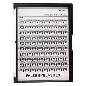 Dedila -200Pcs Mixed 8-10-12-14-16mm 20Roots Natural Long Individual False Eyelashes Thickness 0.07mm Grafting Premade Fans Volume Eye Lashes Extensions Makeup Cluster Lashes (8-10-12-14-16MM)