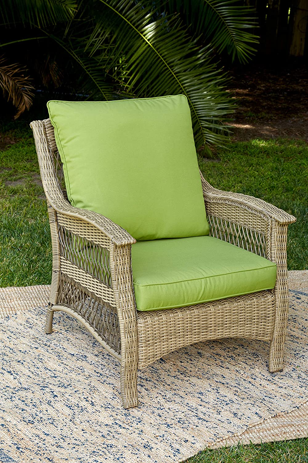 Green Cushions Brown Wicker Quality Outdoor Living 65-514297 ...