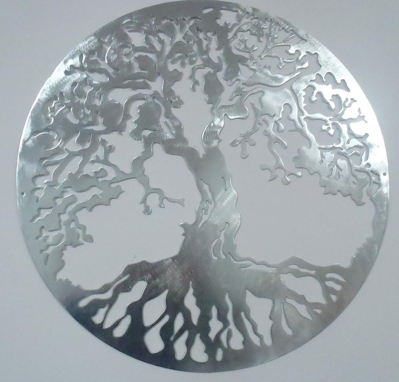Tree of Lifeメタルアート壁装飾、23.5インチ、シルバーLook B07B7CSVB4