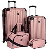 Travelers Club Midtown Hardside 4-Piece Luggage Travel Set, Rose Gold