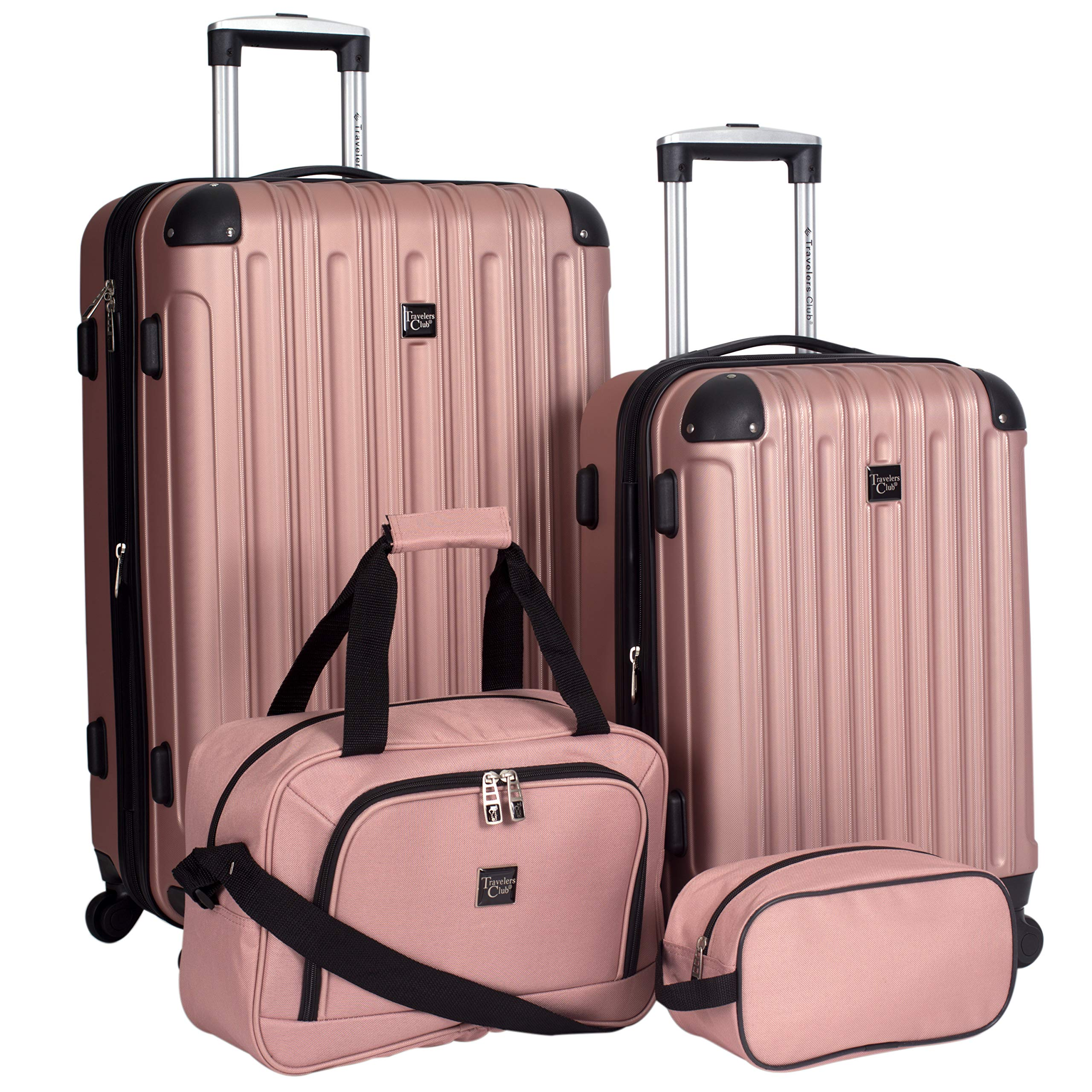 Travelers Club Luggage 4 Piece Luggage Set, Rose Gold, 4 PC by Traveler's Club