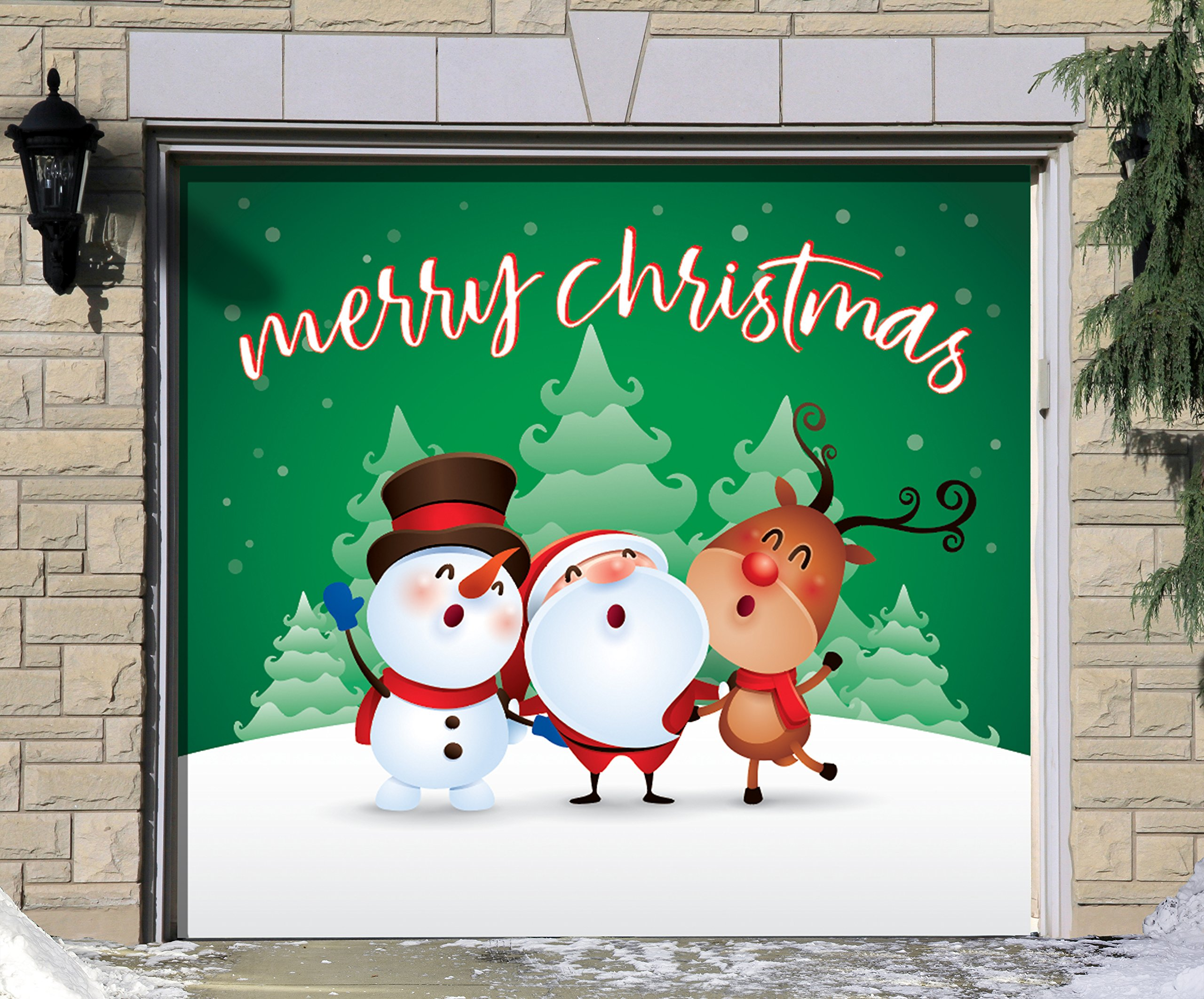 Outdoor Christmas Holiday Garage Door Banner Cover Mural Décoration - Christmas Characters Merry Christmas Winter - Outdoor Christmas Holiday Garage Door Banner Décor Sign 7'x8' by Victory Corps