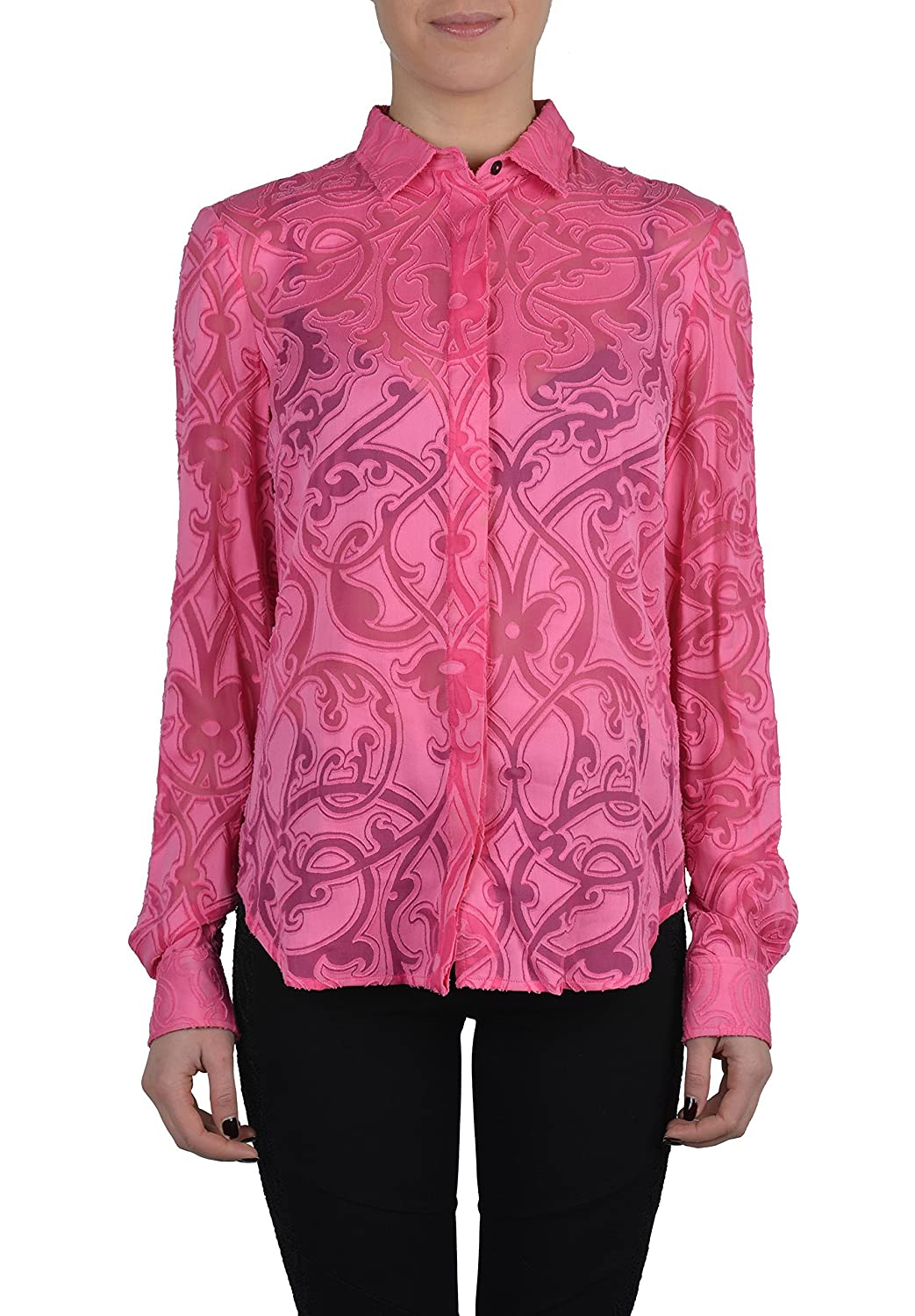 Just Cavalli Silk Pink Button Front See Through Long Sleeves Blouse US S IT 40