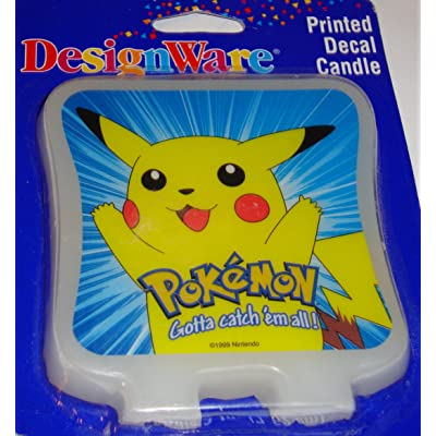 Designware Pokemon Pikachu Printed Decal Candle Cake Topper: Toys & Games