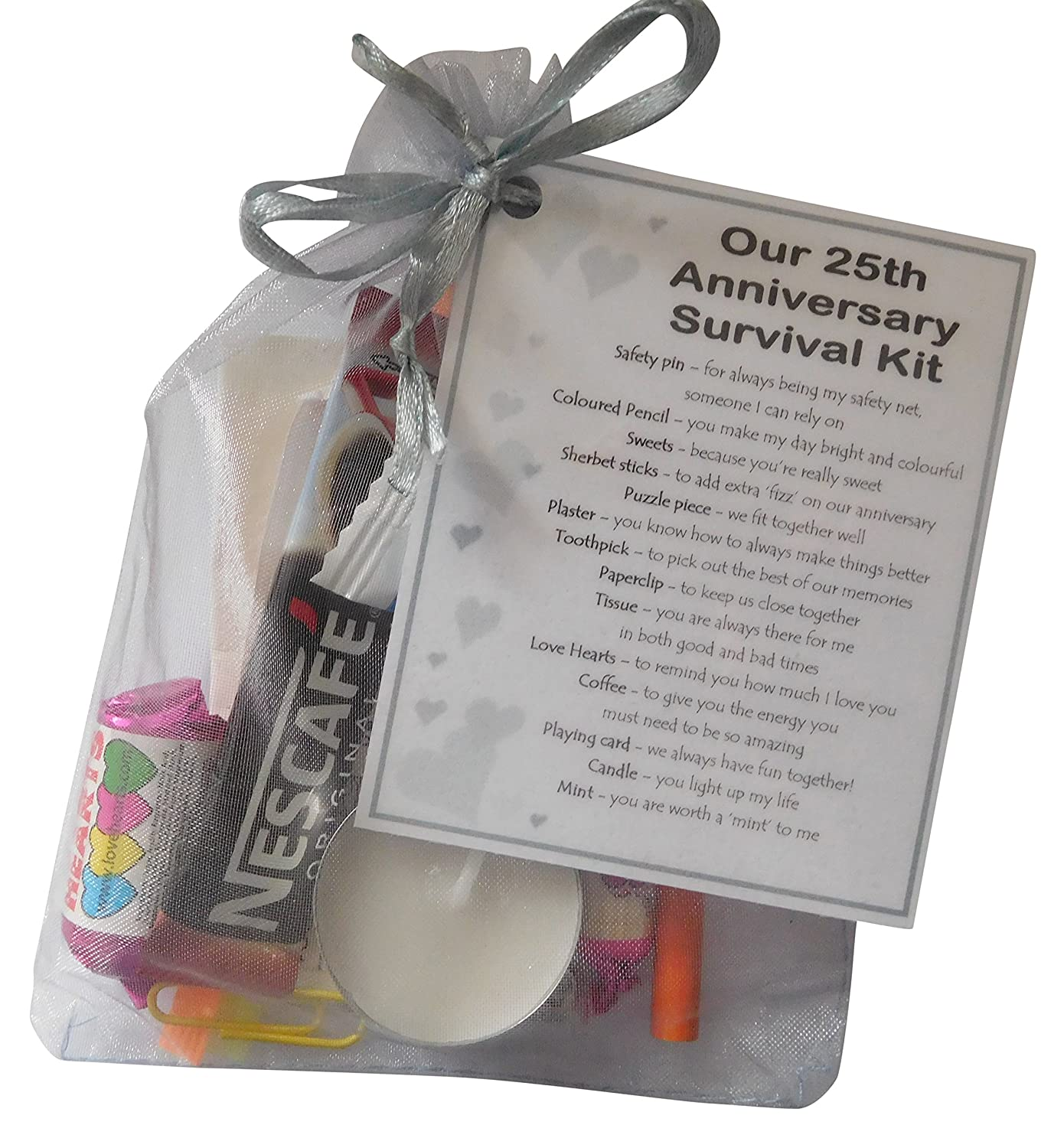 SMILE GIFTS UK Silver 25th Anniversary Survival Kit Gift (Great novelty present for silver anniversary or wedding anniversary for husband, ...