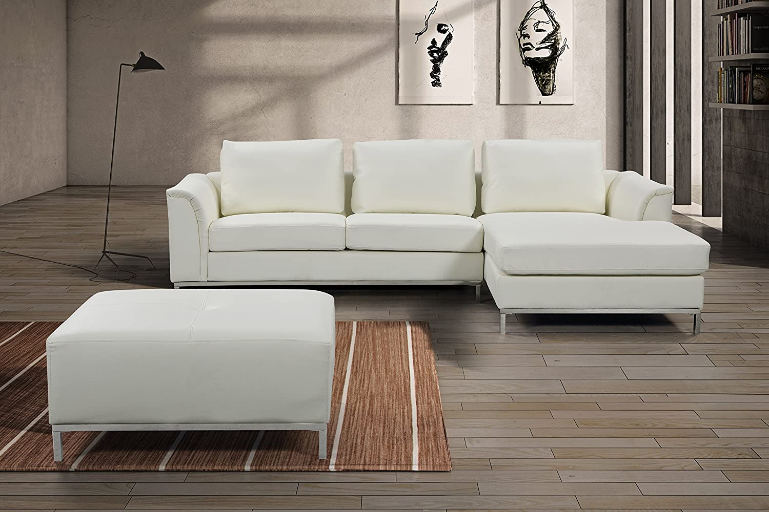 ACME Furniture Lyssa Bonded Leather Sectional with Ottoman in Black
