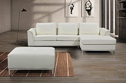 Velago Ollon Modern Leather Sectional Sofa Set, 106u0026quot; W, Cream White