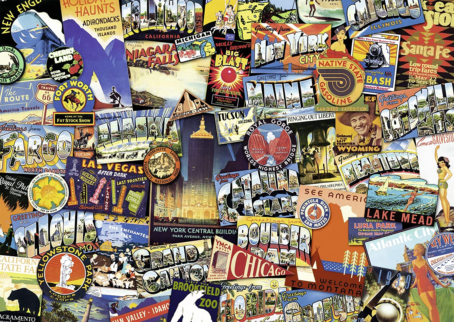 Ravensburger Road Trip USA 1000 Piece Jigsaw Puzzle for Adults – Every Piece is Unique, Softclick Technology Means Pieces Fit Together Perfectly