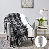 "MP2 Heated Sherpa Throw Blanket Electric Lap Blanket 50"" x 60"" with 3 Heating Levels 2 Hours Auto Off for Home and Office Use Machine Washable UL Certified, EMF Radiation Safe, Grey/Black/White Plaid"