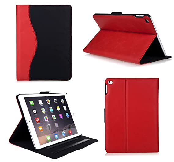 Bear Motion Case for Apple iPad Air 2 (iPad 6) - Luxury Top Layer Buffalo  Hide Vintage Leather Case for Apple iPad Air 2 Support Smart Cover Function