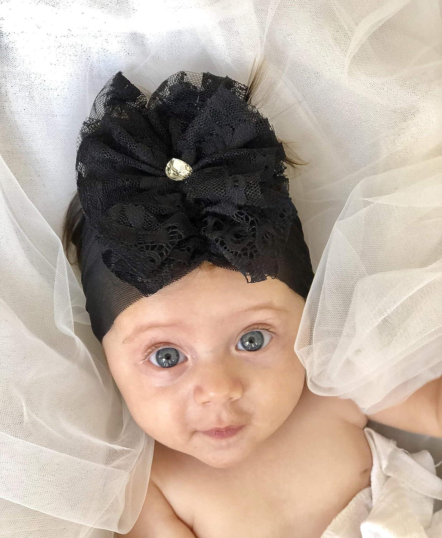 Amazon com black baby girl headband made by yasmine with fabric flower and rhinestone best for 6 month old handmade