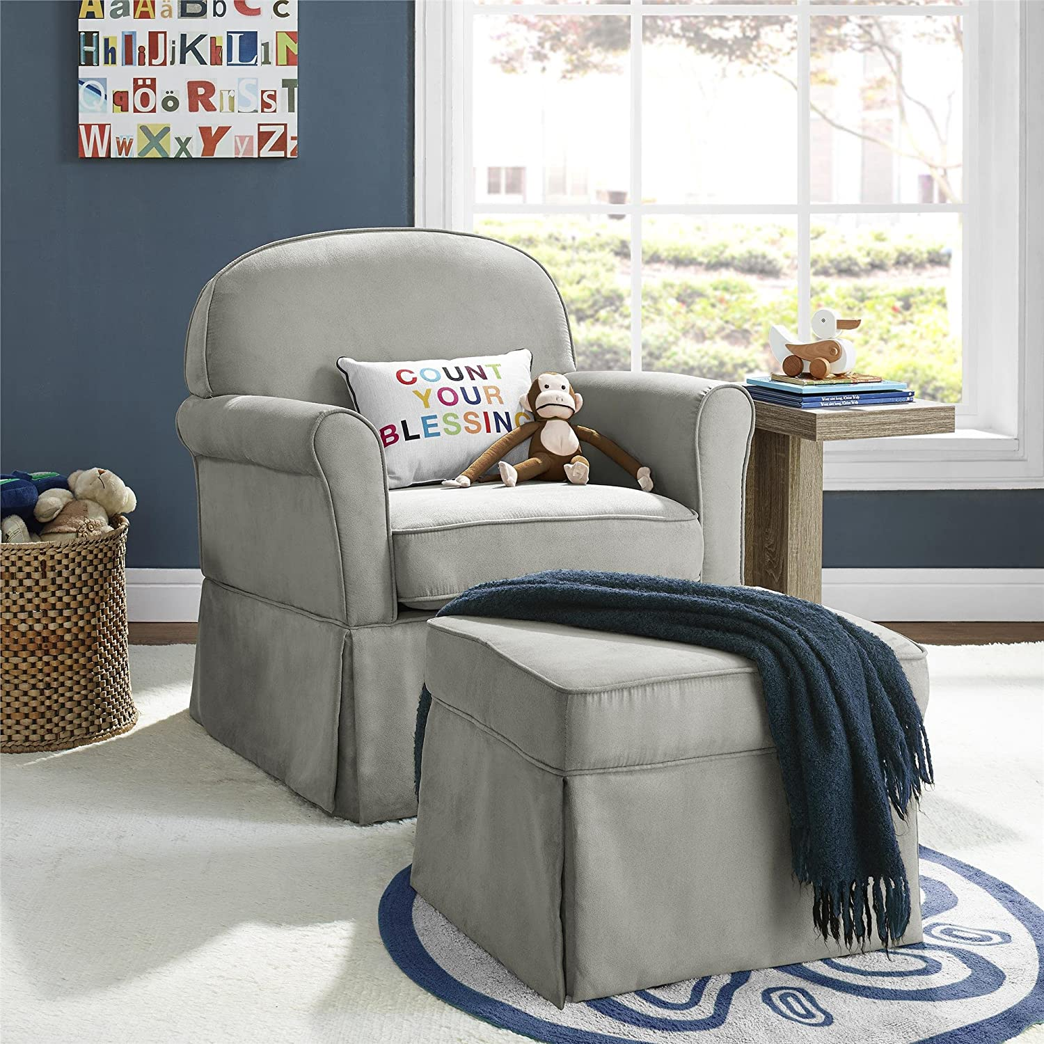 Amazon Baby Relax Swivel Glider and Ottoman Set Light Grey Baby