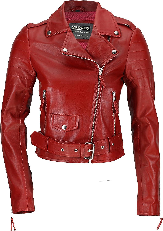 Xposed - Chaqueta corta para mujer, 100% piel suave, estilo retro, color marrón y rojo