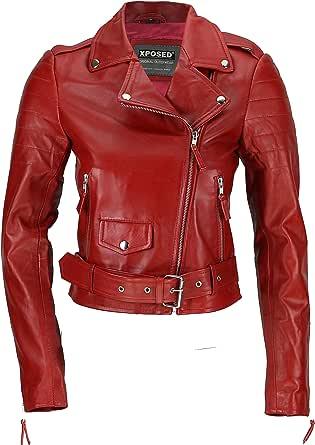 Xposed Chaqueta corta para motociclista de rock retro de cuero suave 100% real, color marrón y rojo