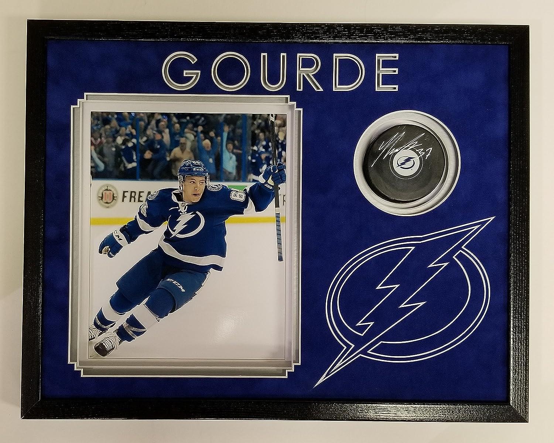 Yanni Gourde Signed Autographed Hockey Puck Tampa Bay Lightning Framed 14x18 JSA