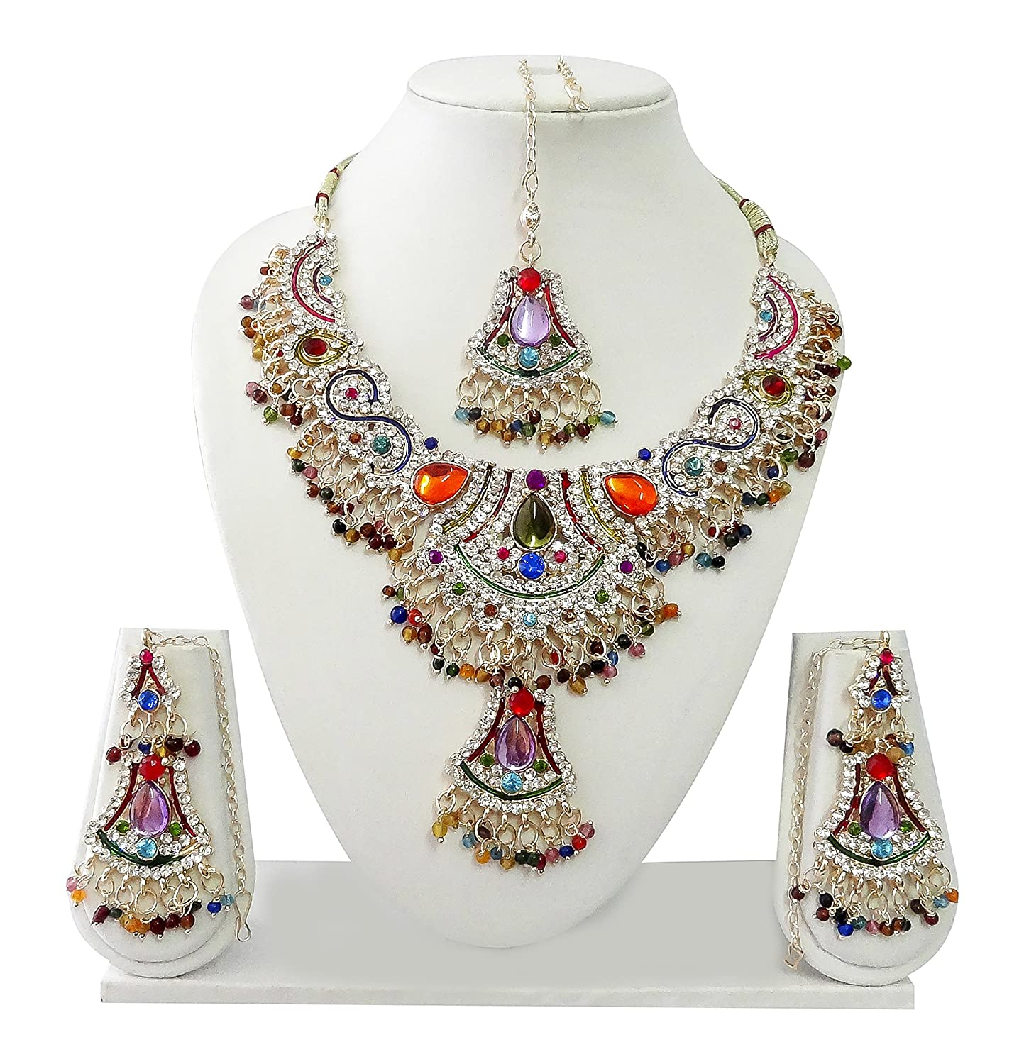 Indian Bollywood Jewelry Set Ethnic Gold plated Necklace set with Earrings and Maang Tikka JS8094 Available in 12 colors
