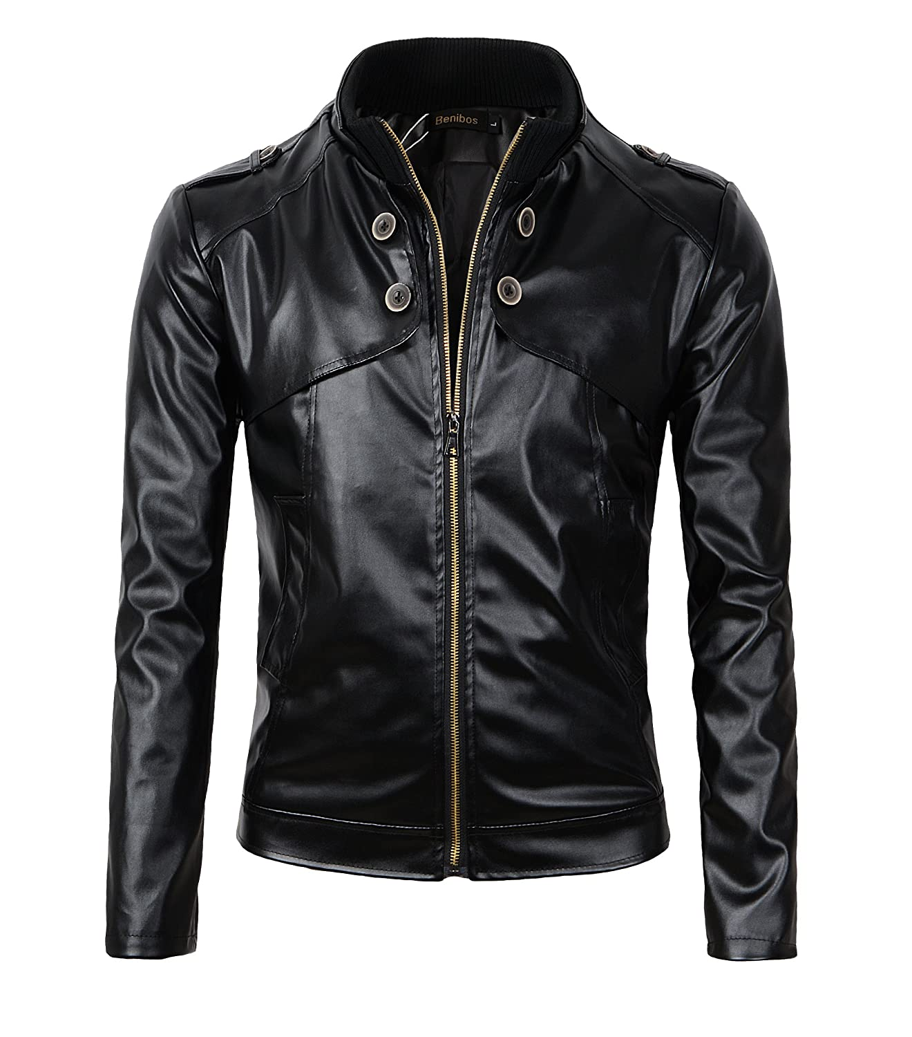 Benibos Men's Slim Fit Stand Up Collar Faux Leather Jacket