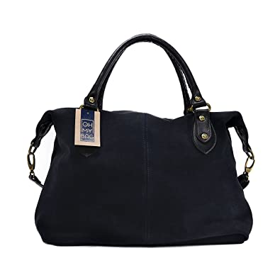 OH MY BAG Sac à main en cuir nubuck Phi bleu fonce SOLDES  Amazon.fr ... 95db8669592d