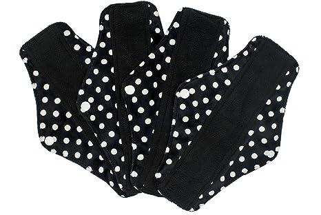Compresas reutilizables | 4 salvaslip tela muy absorbentes | toallas femeninas de tela menstruación (Schwarz