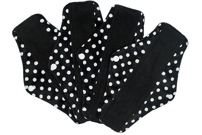Compresas reutilizables | 4 salvaslip tela muy absorbentes | toallas femeninas de tela menstruación (Schwarz): Amazon.es: Salud y cuidado personal
