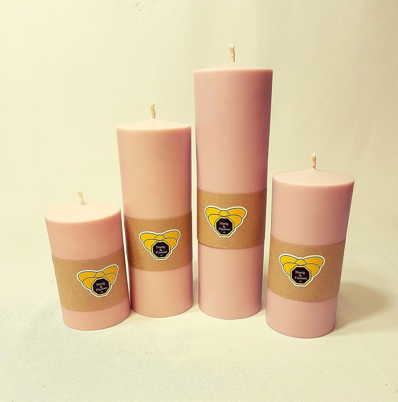 Honig  Flamme Miel  Llama 4 x Velas de cera de colza Color Rosa hecha Vegan pura vegetal Natural respetuoso con el medio ambiente