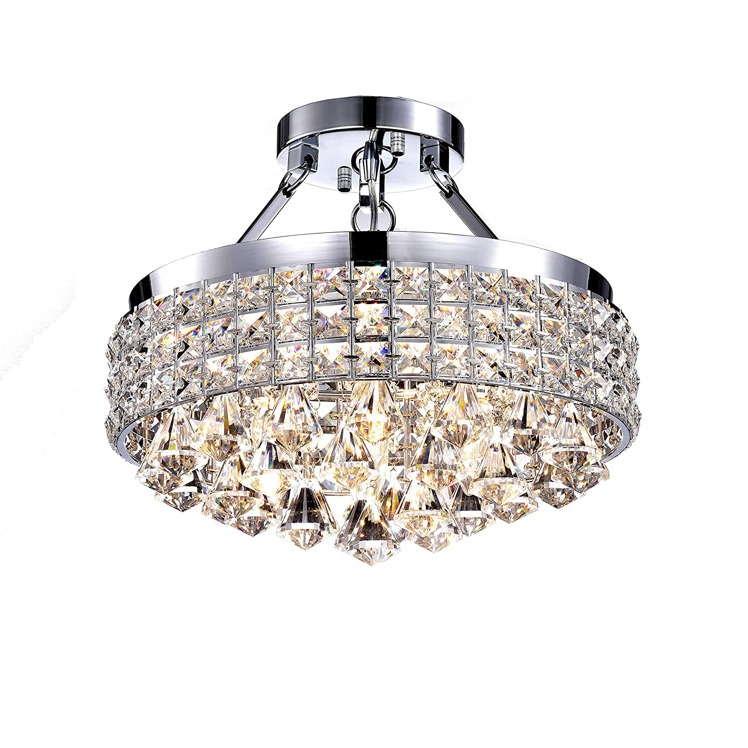 low priced 93054 3a3f3 Antonia 4-Light Crystal Semi-Flush Mount Chandelier with Chrome Iron Shade