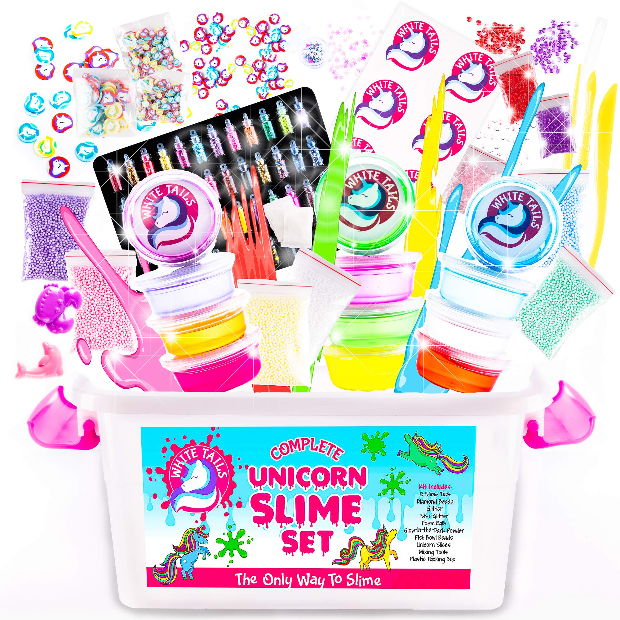 White Tails Unicorn Slime Kit for Girls and Boys 12 Containers of Clear Slime for Kids by White Tails