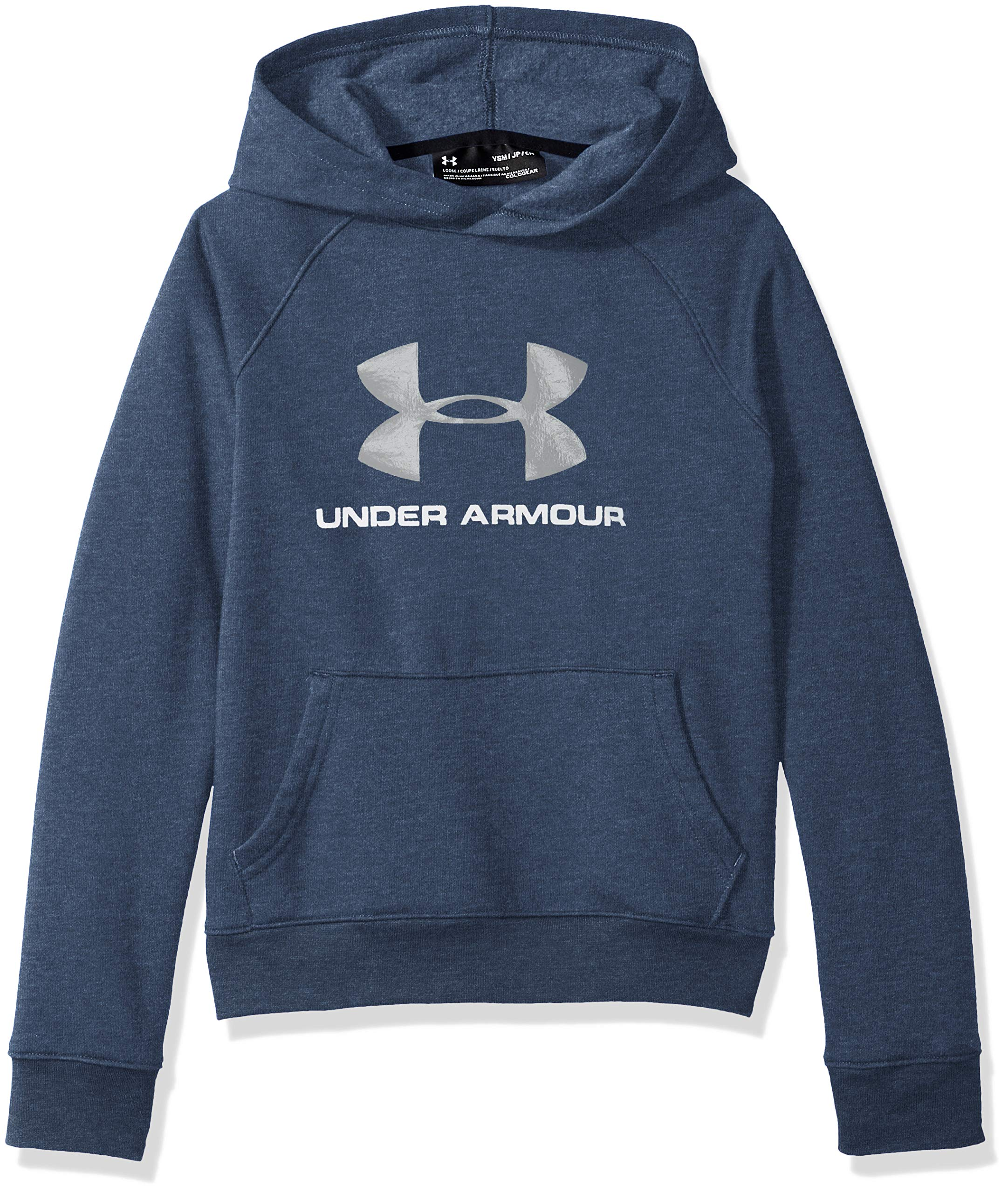 Under Armour Boys Rival Logo Hoodie, Academy Light Heathe (409)/Steel, Youth Small by Under Armour