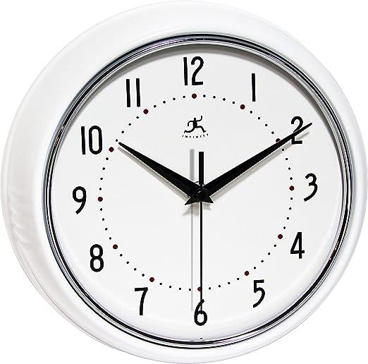 Black Round Metal Retro 9.5 Inch Wall Clock Infinity Instruments