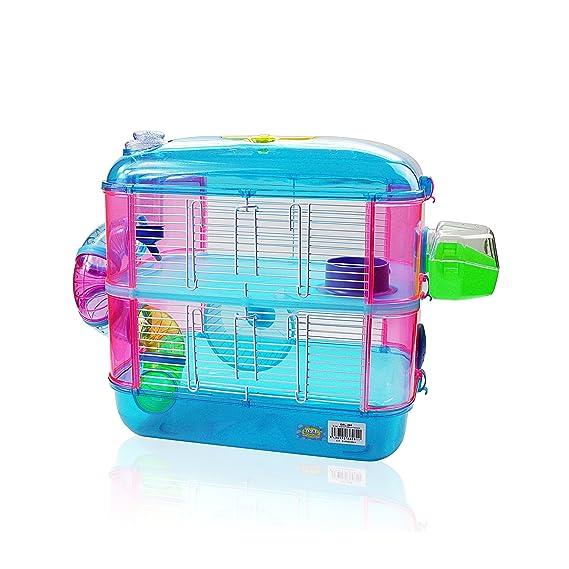 DI ZE LIN PET HOME S.L DZL® Jaula para hamster de plástico duro, caseta bebedero comedero rueda todo incluido (40*26*40 2 pisos, azul): Amazon.es: Productos ...