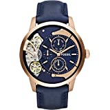 Fossil Men's Stainless Steel Mechanical-Hand-Wind Watch with Leather Calfskin Strap, Blue, 22 (Model: ME1138)