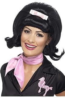 Smiffys 43226 Déguisement Femme Perruque Rétro des Années 50, Noir, Taille  Unique 11653b410b70