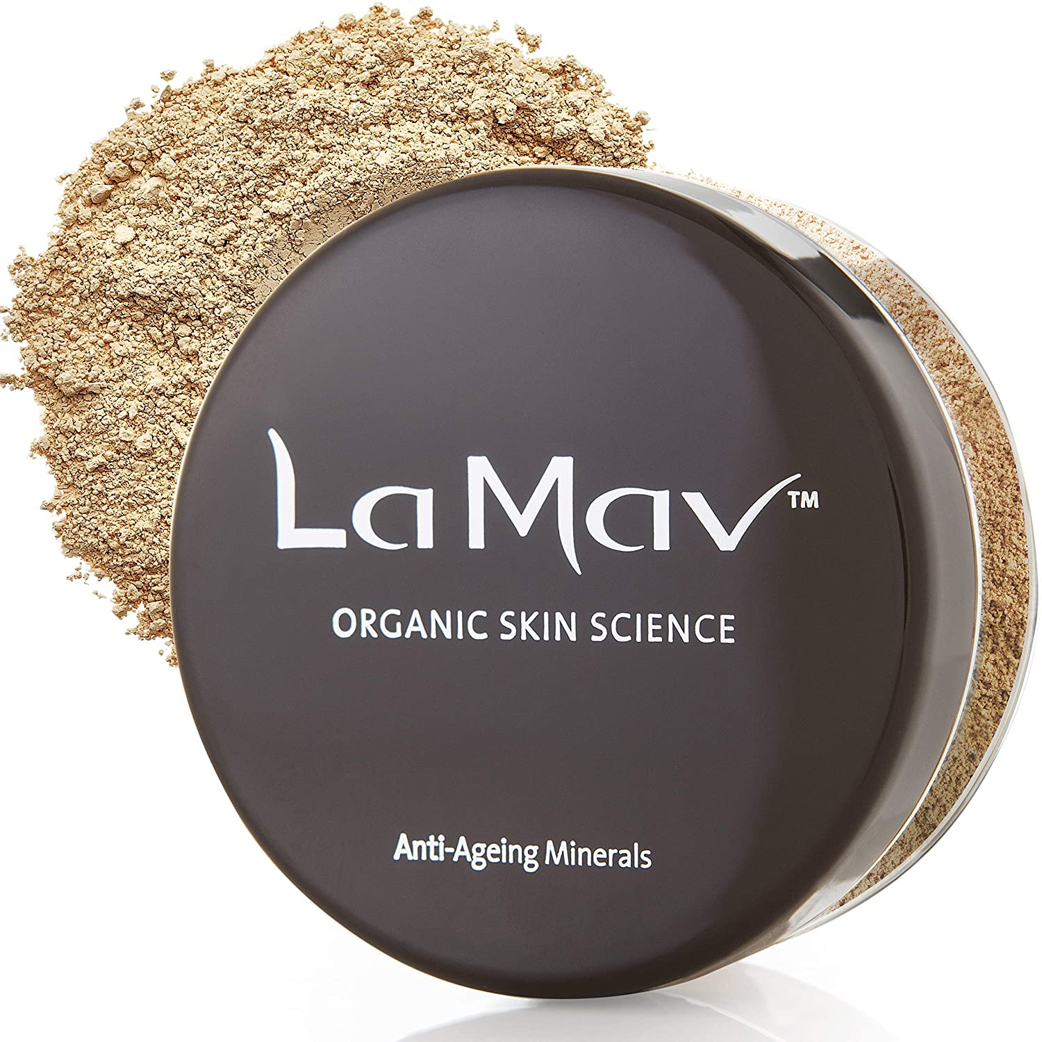 La Mav Foundation Powder Makeup DARK - Chemical-free, Anti-Aging Mineral Foundation, Concealer, SPF 15 and Powder All-in-one - Light or Buildable Coverage - Long Lasting, Water Resistant Formula
