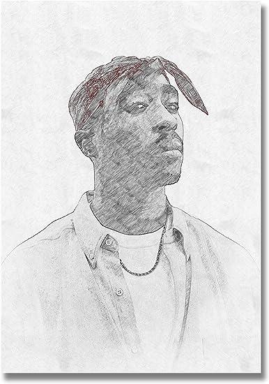 Ay Arts 2pac Poster Limited High Quality Drawing By Tupac Shakur 59 4 X 84 Cm Black White Pencil Poster Hip Hop Rap Küche Haushalt