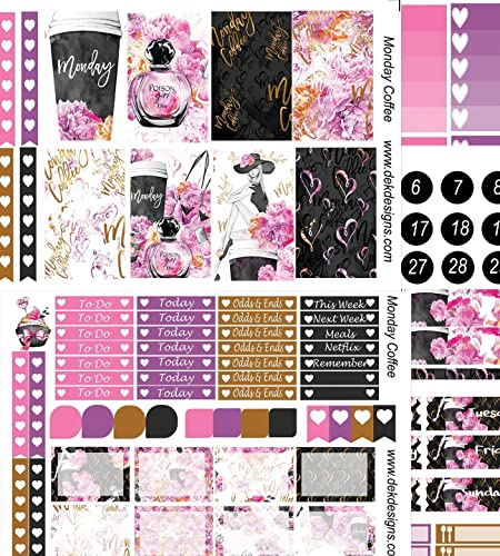 Monday Coffee, planner sticker kit. 5 sheets included on matte removable sticker paper. Choose from sizes Erin Condren or Happy Planner. Kiss cut, just peel and stick.