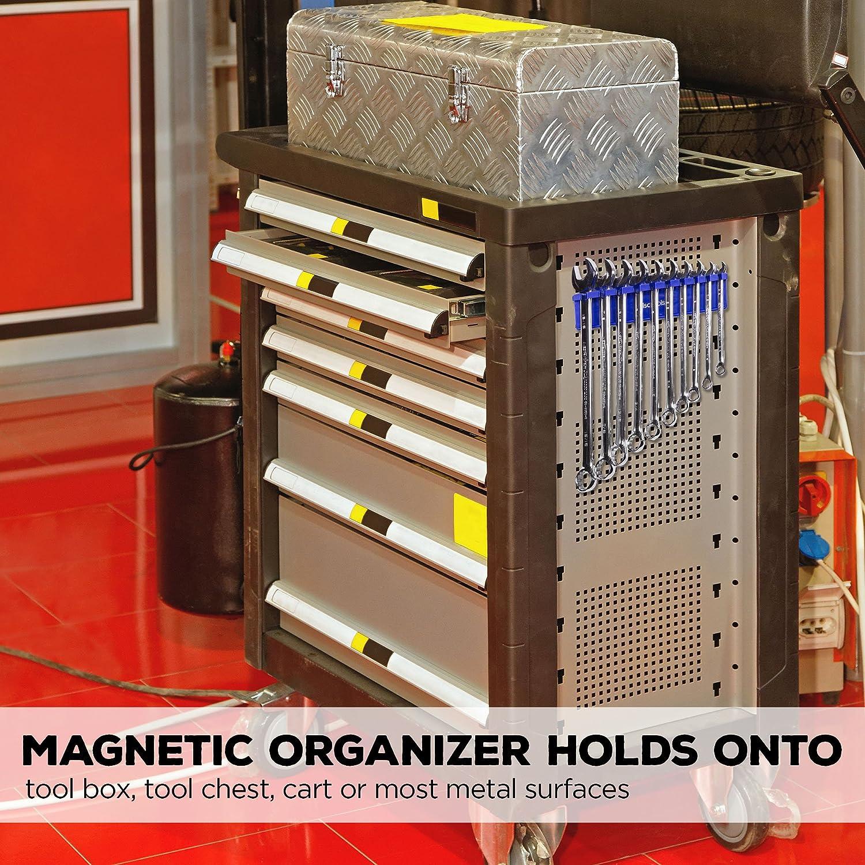 Olsa Tools Fits SAE 3//8 thru 15//16 /& Metric 10mm thru 19mm Premium Quality Tool Organizer BLUE Magnetic Wrench Organizer