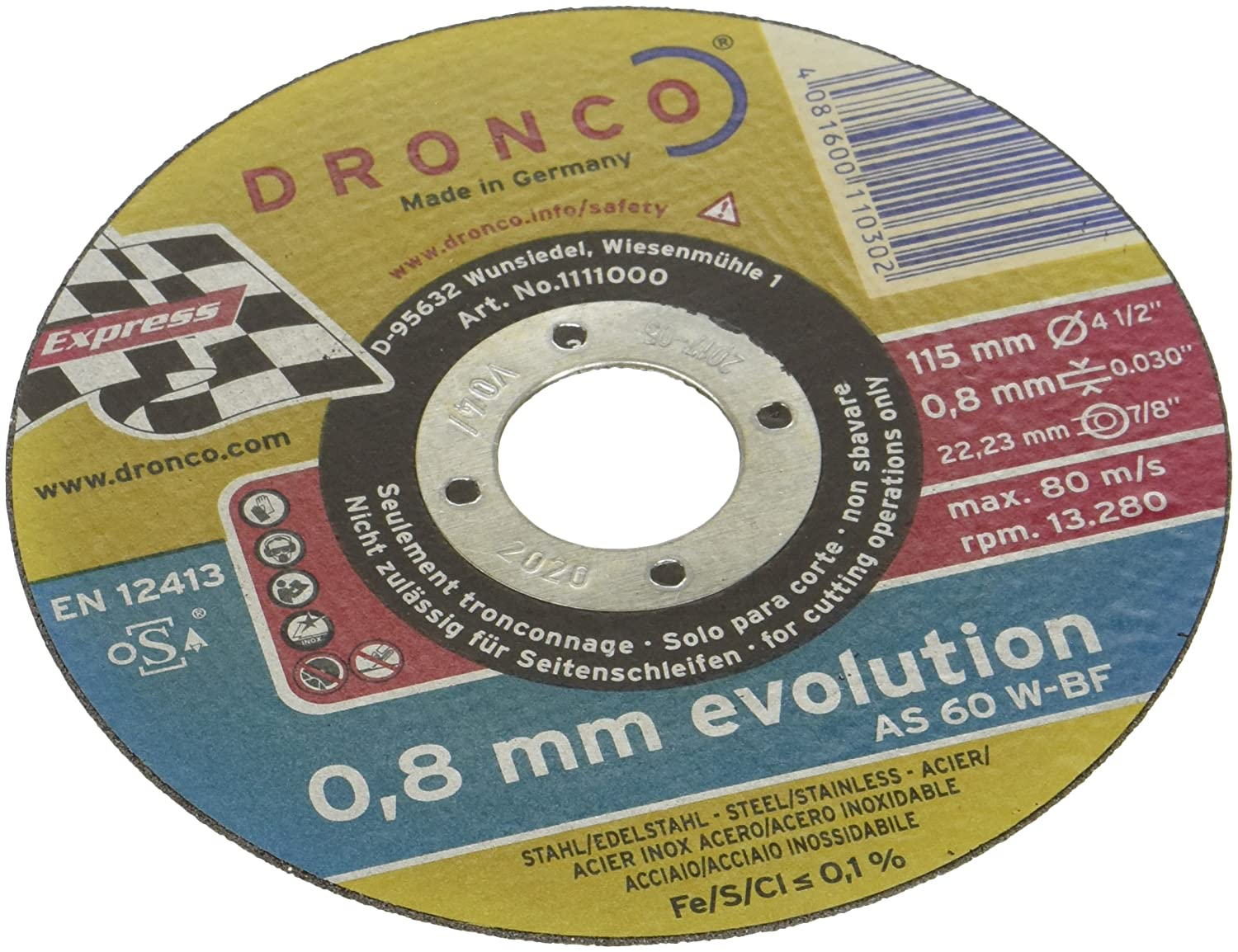 Cutting Disc 115 x 0.8 x 22.2 MM Stainless Steel AS 60 W Evolution