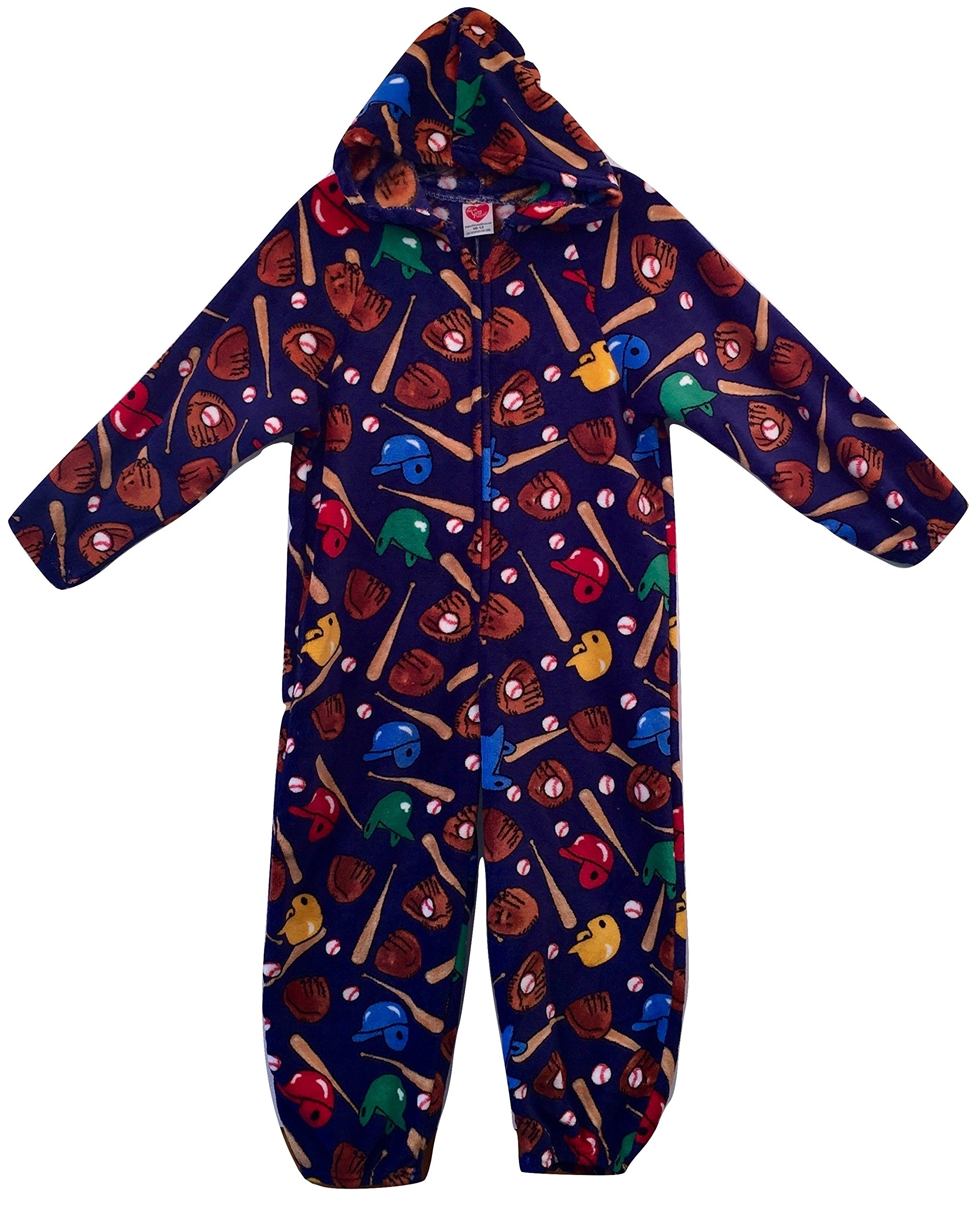 Made with Love and Kisses Adult's Fuzzy Plush Jumpsuit/One Piece Pajama With Hood - Navy Baseball - M/L