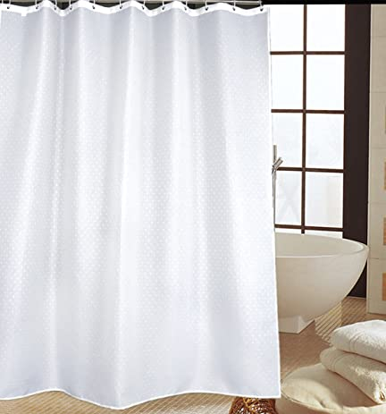 Pure Solid White Shower Curtain Liner Bathroom Water Repellent Fabric Cloth Mildew Free Polyester