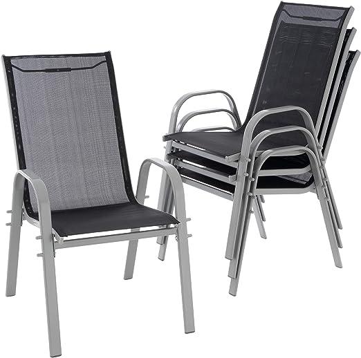 Nexos Juego de 4 Silla de jardín apilable Silla sillón Respaldo Alto Terraza Antracita: Amazon.es: Jardín