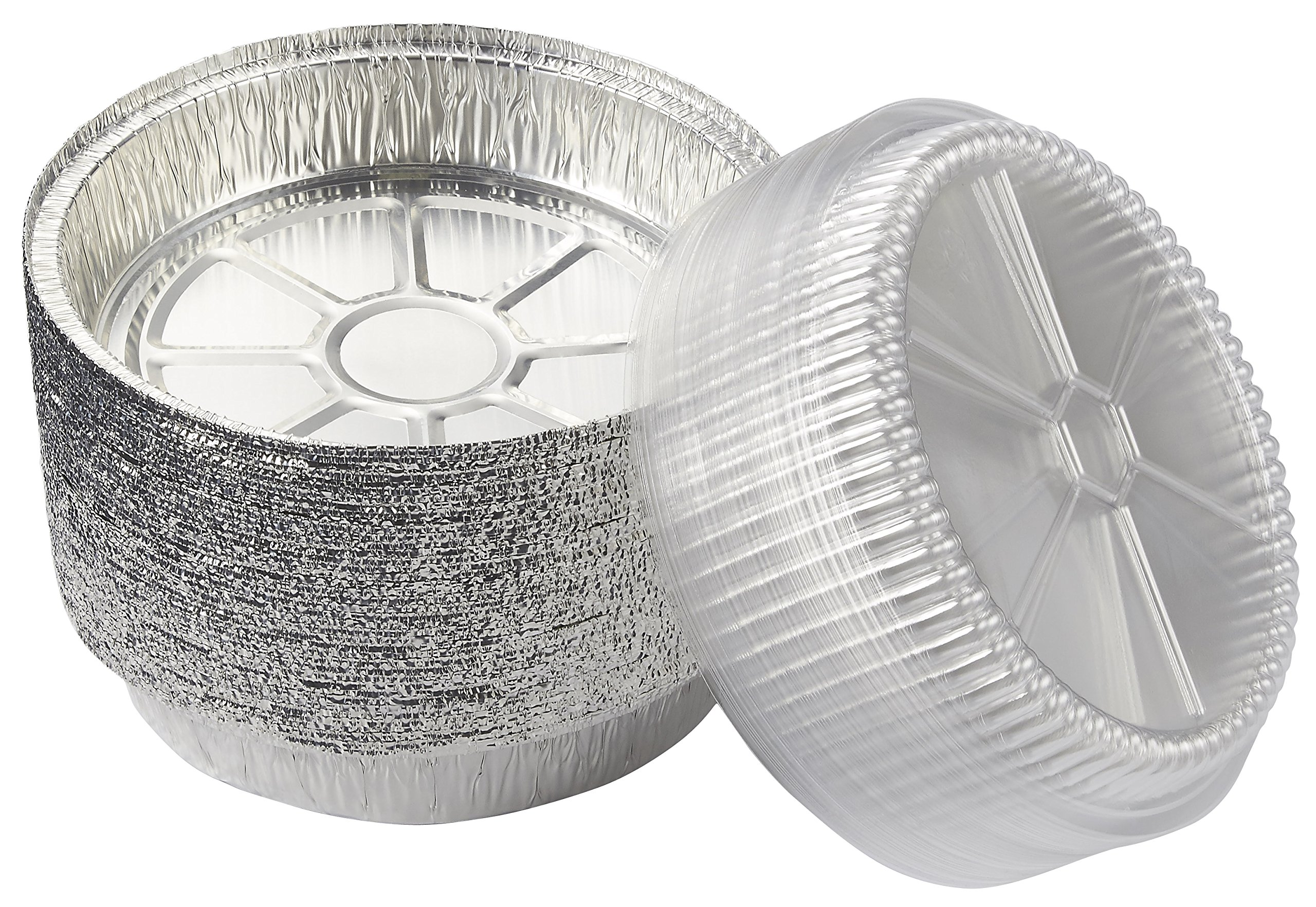Round Aluminum Foil Pans - 40-Piece Take-Out Disposable Tin Pans with Plastic Clear Lids for Baking, Roasting, Broiling, Reheating, 9 Inches Diameter