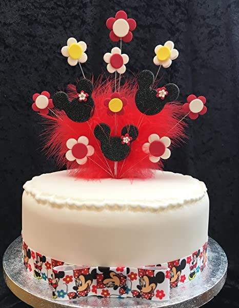 Terrific Minnie Mouse Birthday Cake Topper Black Red Yellow With Flowers Funny Birthday Cards Online Overcheapnameinfo